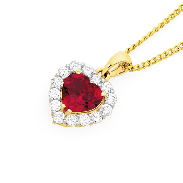 9ct Gold Created Ruby & Cubic Zirconia Heart Pendant