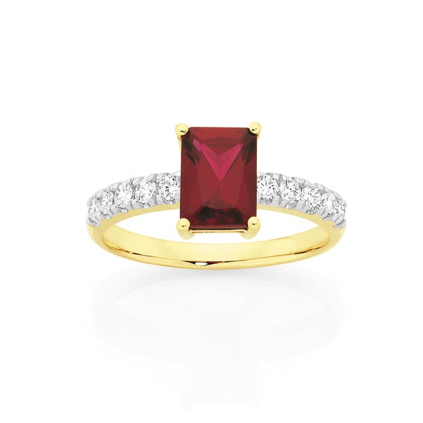 9ct Gold Created Ruby & Cubic Zirconia Ring