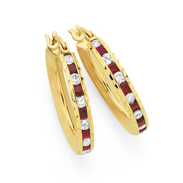 9ct Gold Created Ruby & CZ Hoops
