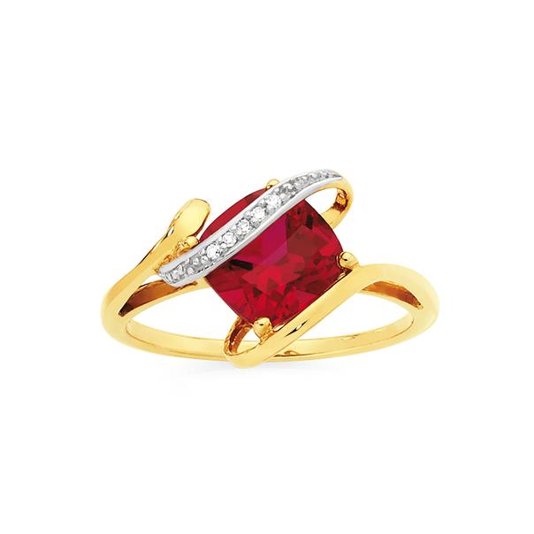 9ct Gold Created Ruby & Diamond Cushion Cut Ring