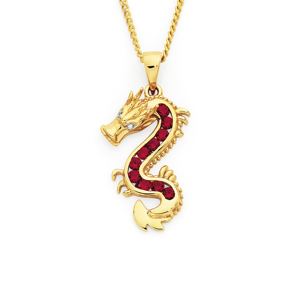 9ct Gold, Created Ruby & Diamond Dragon Pendant