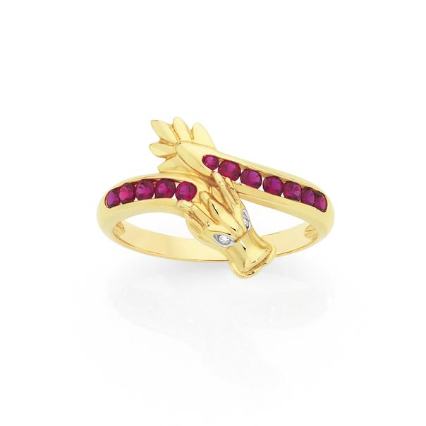 9ct Gold Created Ruby & Diamond Dragon Ring