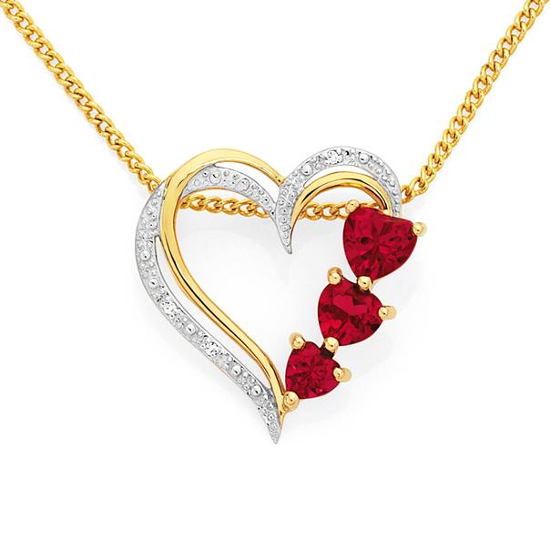 9ct Gold Created Ruby & Diamond Heart Pendant