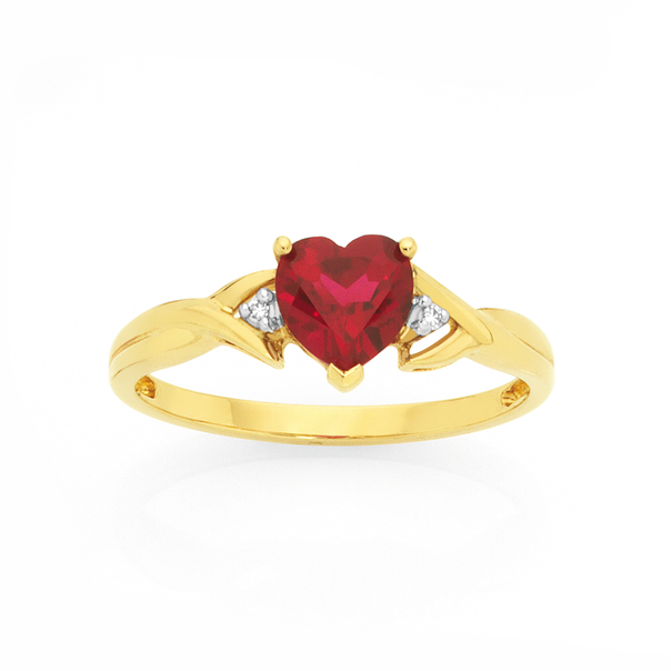 9ct Gold Created Ruby & Diamond Heart Ring
