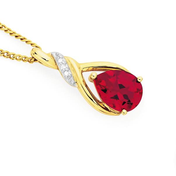 9ct Gold Created Ruby & Diamond Pear Twist Slider Pendant