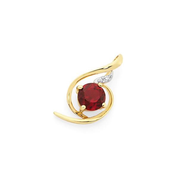 9ct Gold Created Ruby & Diamond Swirl Slider Pendant