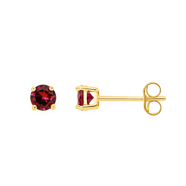 9ct Gold Created Ruby Stud Earrings