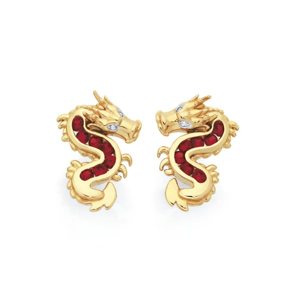 9ct Gold Created Ruby with Diamond Accents Dragon Stud Earrings