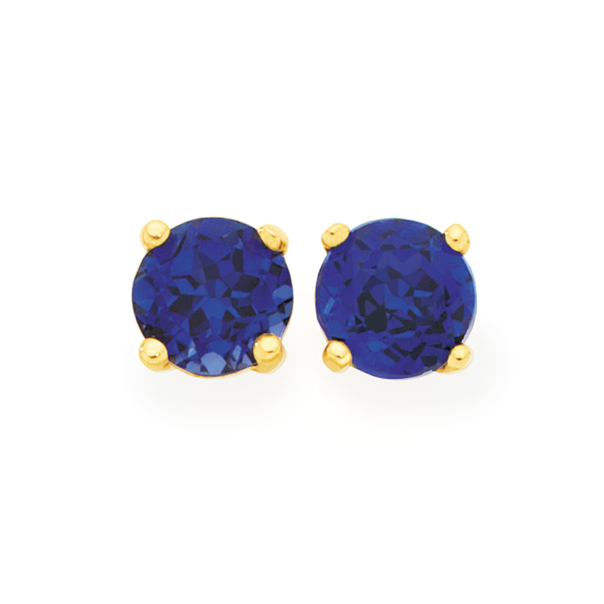 9ct Gold Created Sapphire Stud Earrings