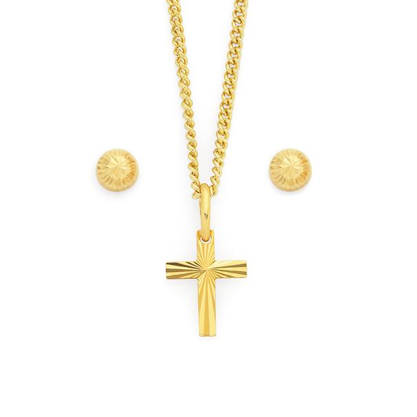 9ct Gold Cross & Stud Earrings Set