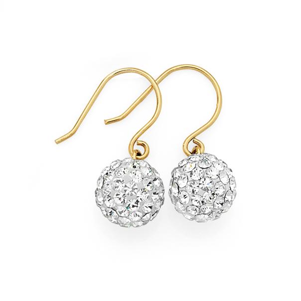 9ct Gold Crystal Ball Drop Earrings