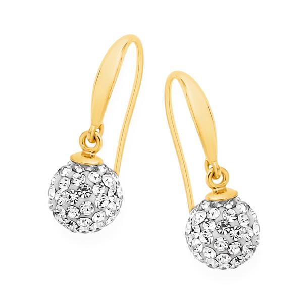 9ct Gold Crystal Ball Hook Earrings