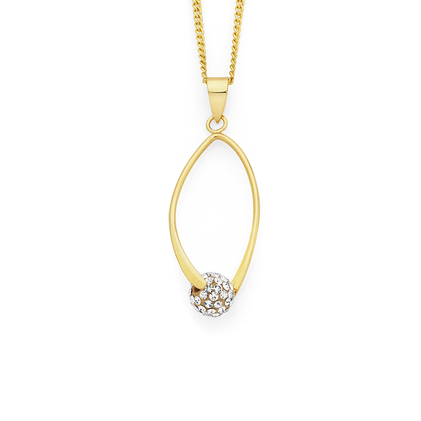 9ct Gold Crystal Ball on an Open Bar Pendant