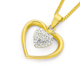 9ct Gold Crystal Double Heart Pendant