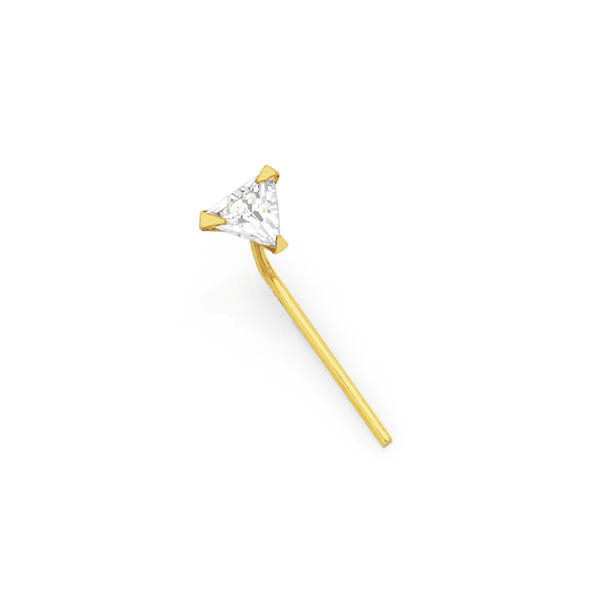 9ct Gold Crystal Triangle Nose Stud