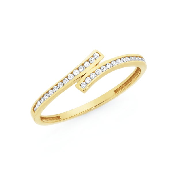9ct Gold Cubic Zirconia Crossover Band