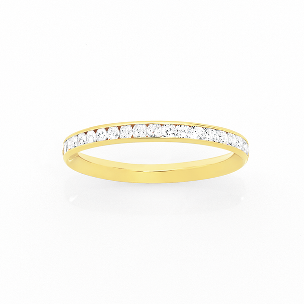 9ct Gold Cubic Zirconia Full Eternity Stacker Ring