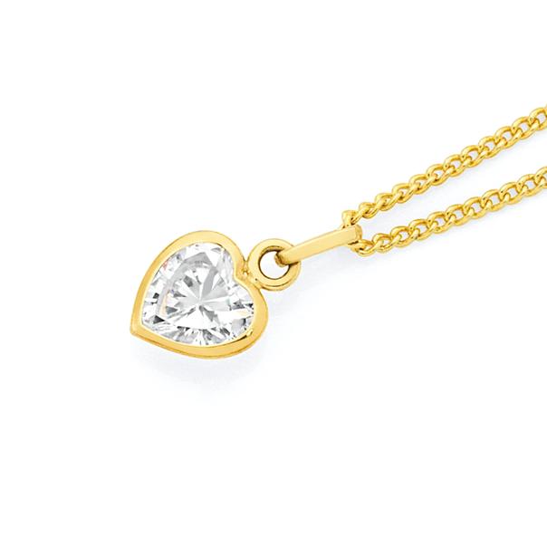 9ct Gold Cubic Zirconia Heart Charm