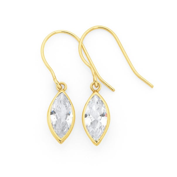 9ct Gold Cubic Zirconia Marquise Cut Hook Earrings