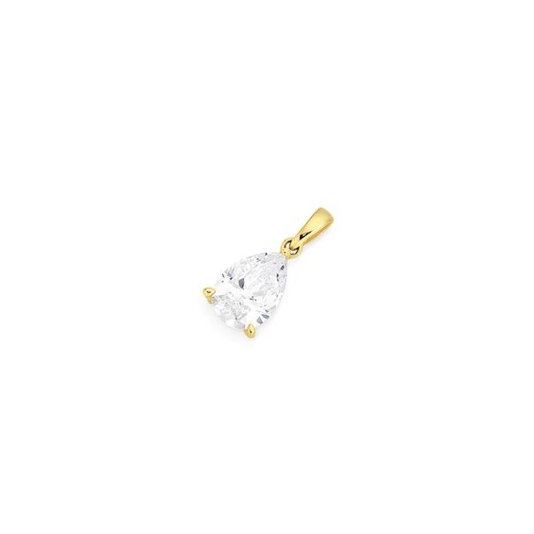 9ct Gold Cubic Zirconia Pear Shape Pendant
