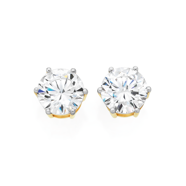 9ct Gold Cubic Zirconia Round Basic Stud Earrings