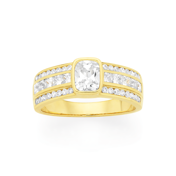 9ct Gold Cubic Zirconia Wide Dress Ring