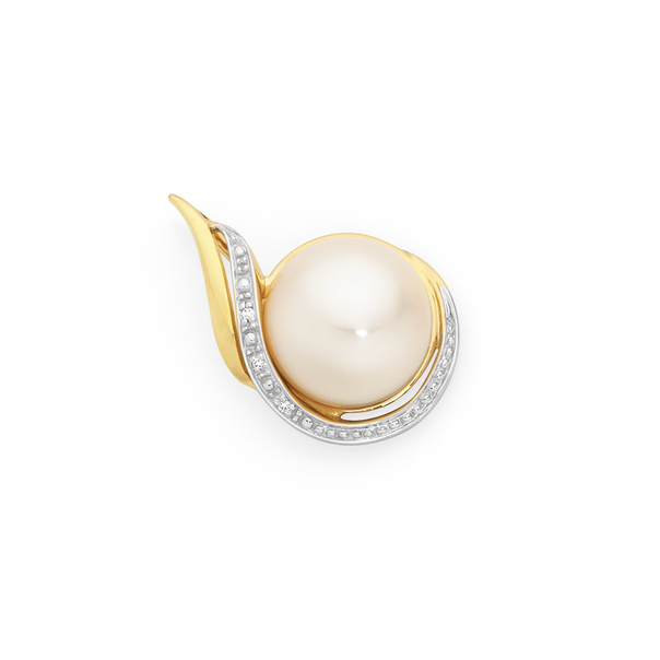 9ct Gold Cultured Fresh Water Pearl & Diamond Swirl Pendant