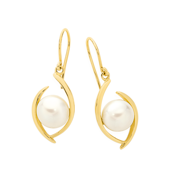 9ct Gold Cultured Freshwater Button Pearl Hook Earrings