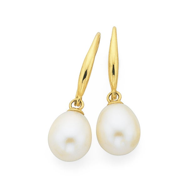 9ct Gold Cultured Freshwater Pearl Drop Earrings
