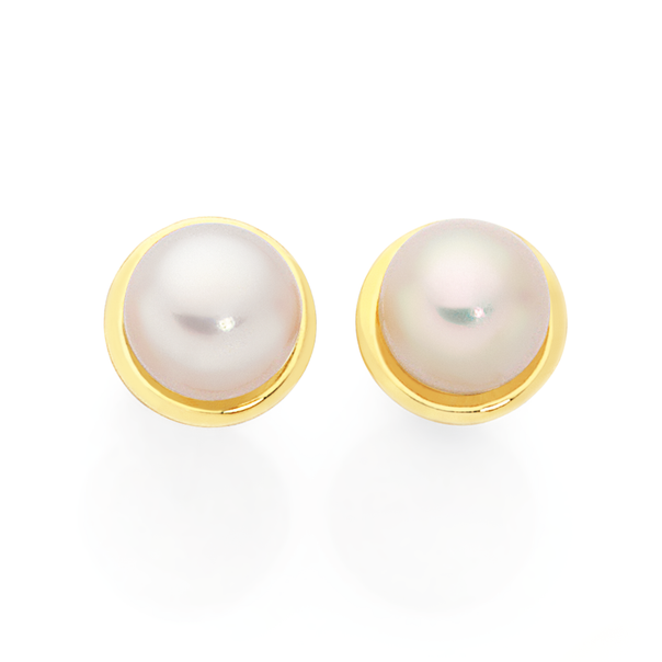 9ct Gold Cultured Freshwater Pearl Gold Framed Earrings