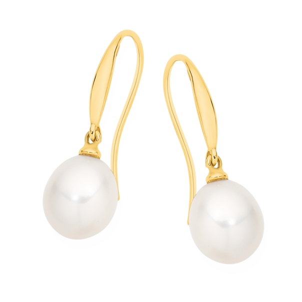 9ct Gold Cultured Freshwater Pearl Tear Drop Shepherd Hook Earrings