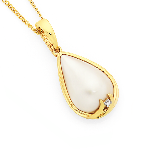 9ct Gold Cultured Mabe Pearl & Diamond Enhancer Pendant