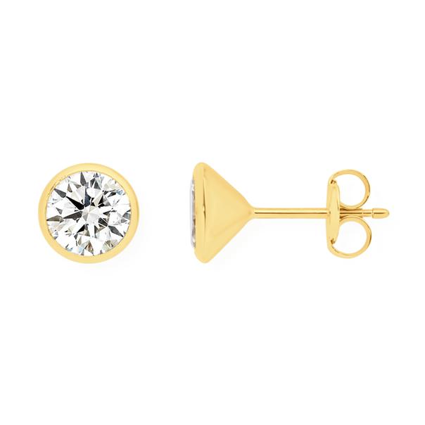 9ct Gold CZ 6mm Bezel Set Stud Earrings