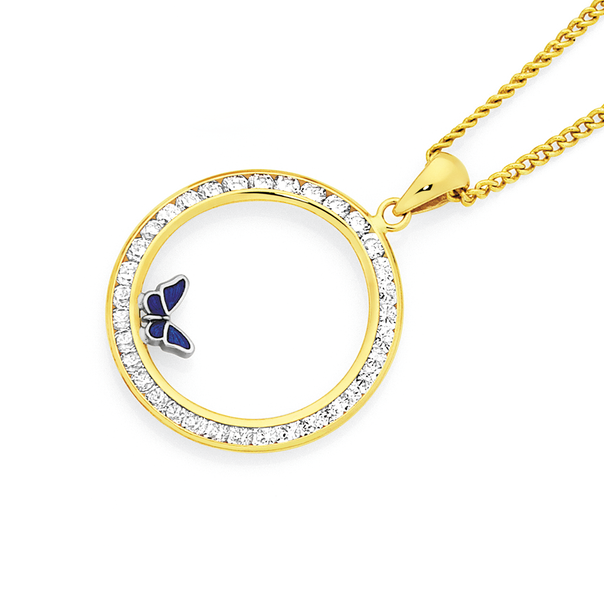 9ct Gold CZ Circle with Enamel Butterfly Pendant