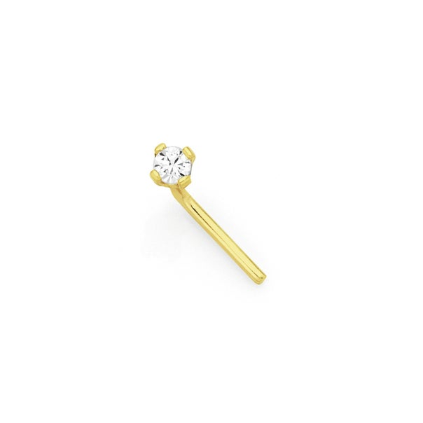 9ct Gold CZ Claw-set Nose Stud