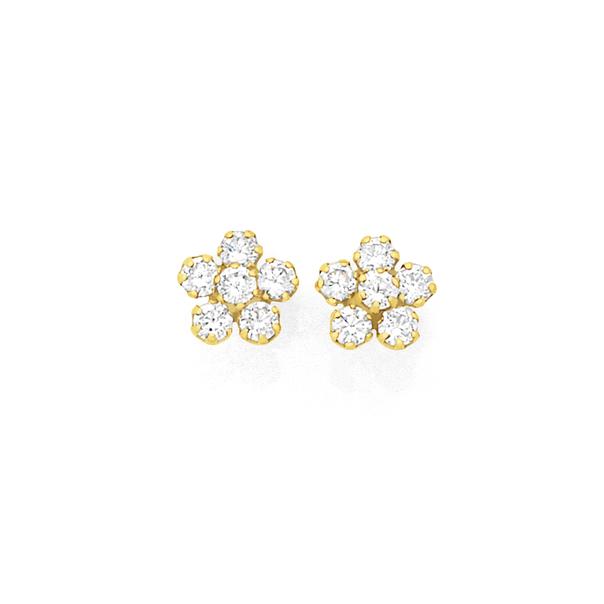 9ct Gold CZ Flower Stud Earrings