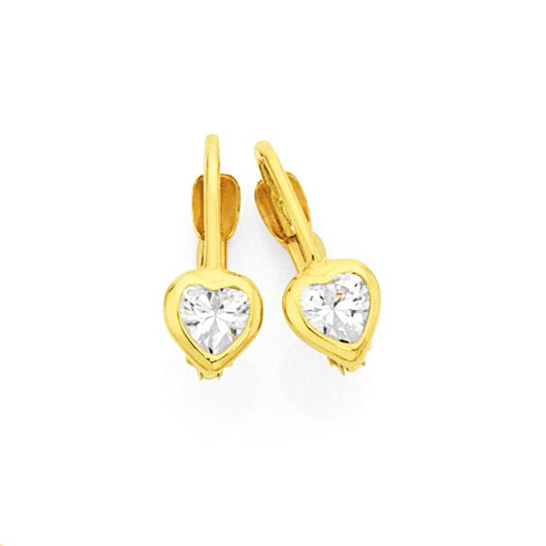 9ct Gold CZ Heart Huggie Earrings