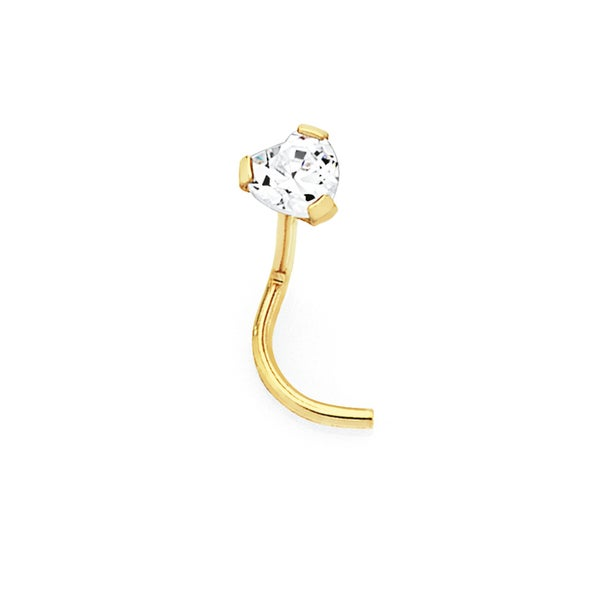9ct Gold CZ Heart Nose Stud