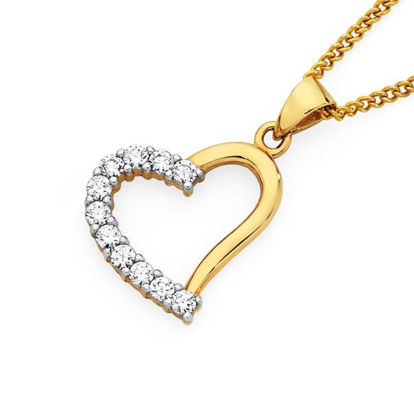 9ct Gold CZ Heart Pendant