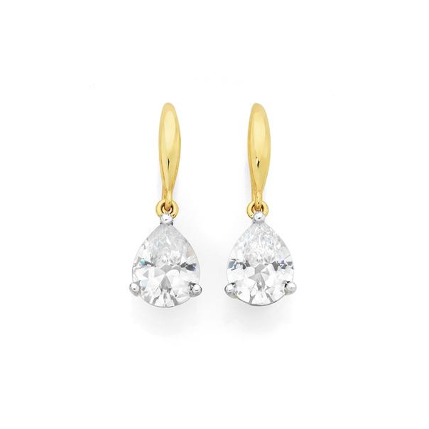 9ct Gold CZ Pear Claw Hook Earrings