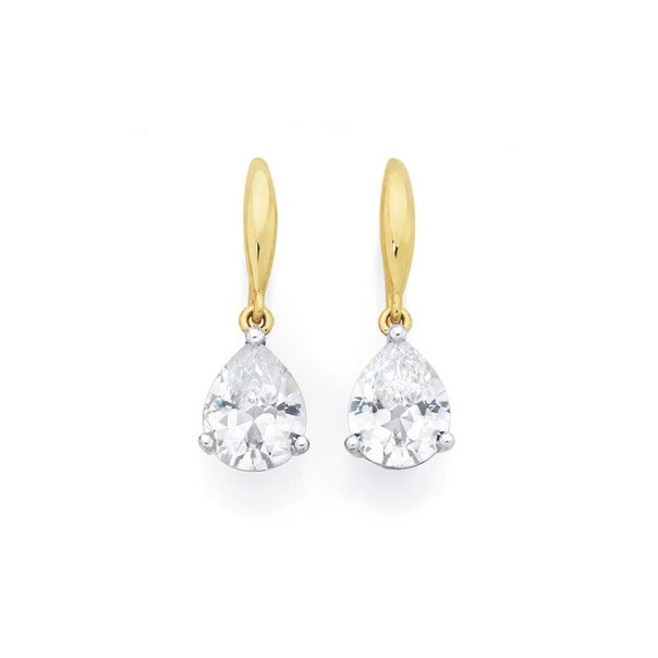 9ct Gold CZ Pear Claw Hook Earrings