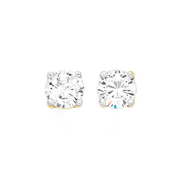 9ct Gold CZ Round Stud Earrings
