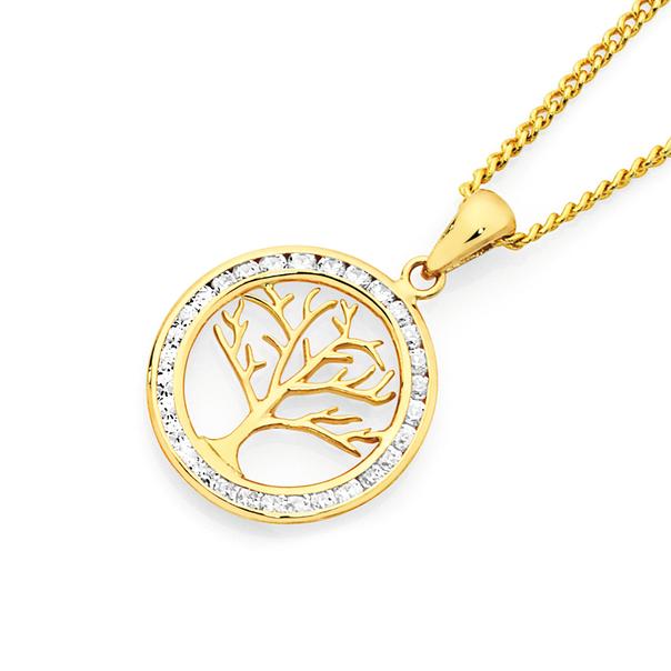 9ct Gold CZ Round Tree of Life Pendant