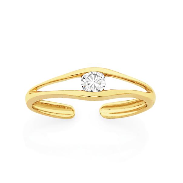 9ct Gold CZ Toe Ring