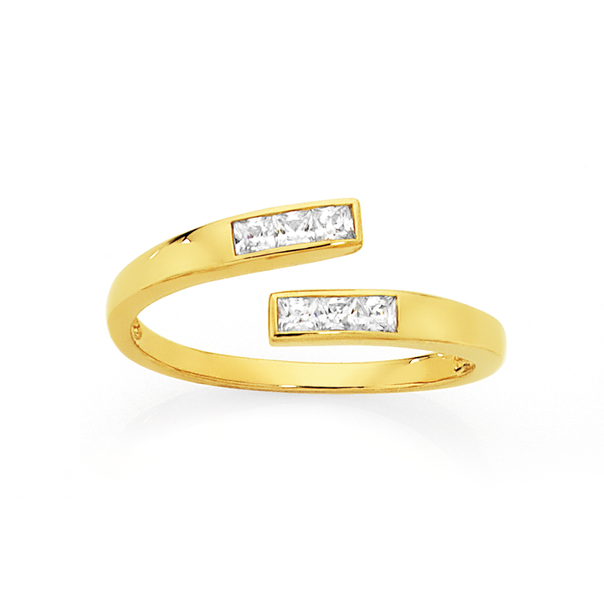 9ct Gold CZ Wrap Toe Ring