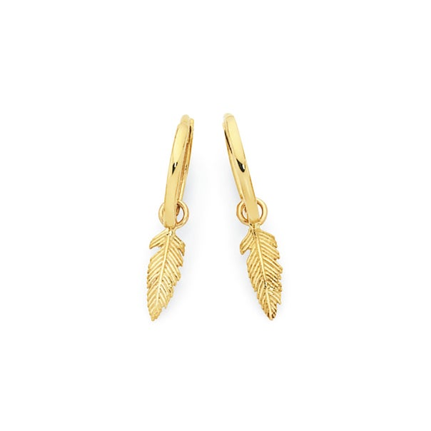 9ct Gold Dangle Feather Huggie Earrings