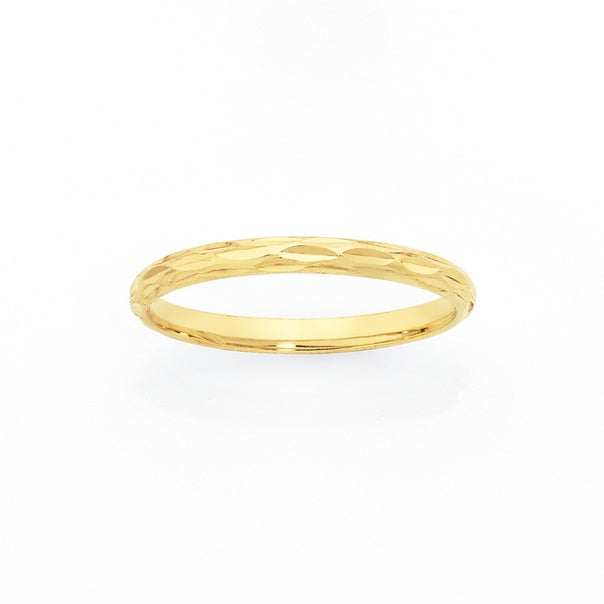 9ct Gold Dashed Cut Stacker Ring