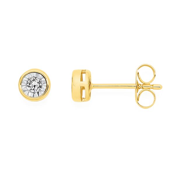 9ct Gold Diamond Bezel Set Stud Earrings