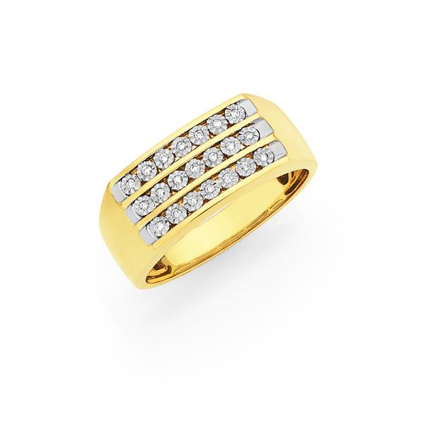 9ct Gold Diamond Channel Set Gents Dress Ring