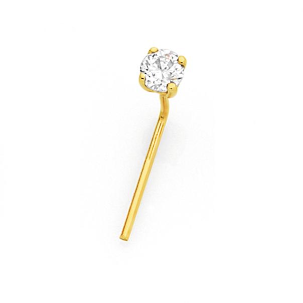 9ct Gold Diamond Claw-set Nose Stud